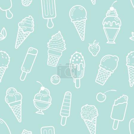Illustration pour Mignon modèle sans couture menthe avec différents types de crème glacée. Illustration vectorielle. Arrière-plan pour menu café, tissu et papier d'emballage - image libre de droit