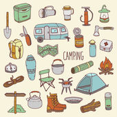 Camping vector hand drawn colorful icon set