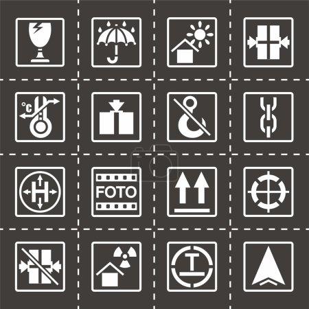 Vector Marking of cargo icon set