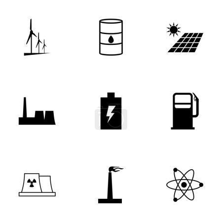 Vector black energetics icons set