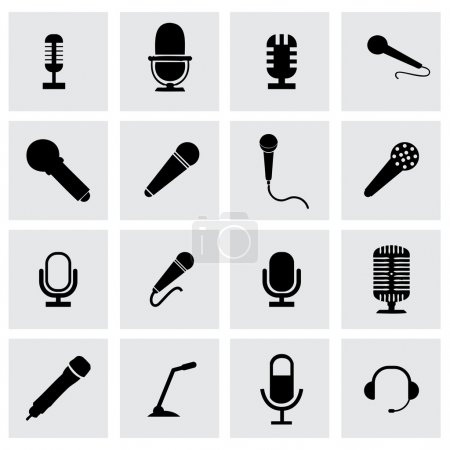 Vector microphone icon set on grey background...