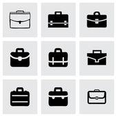 Vector briefcase icon set on grey background