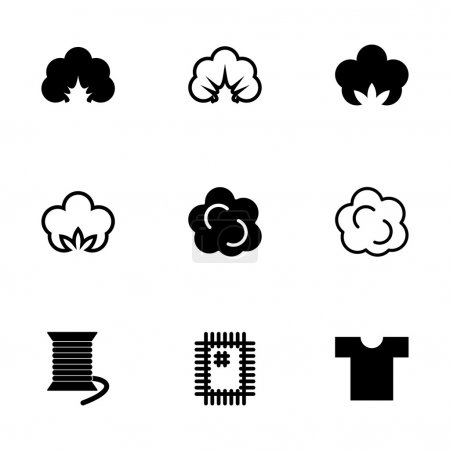 Vector cotton icon set on white background...