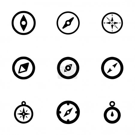 Illustration for Vector compass icon set on white background - Royalty Free Image