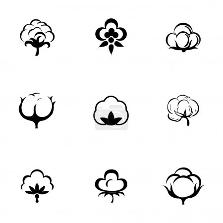 Illustration for Vector cotton icon set on white background - Royalty Free Image