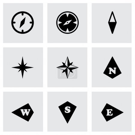Illustration for Vector compass icon set on grey background - Royalty Free Image