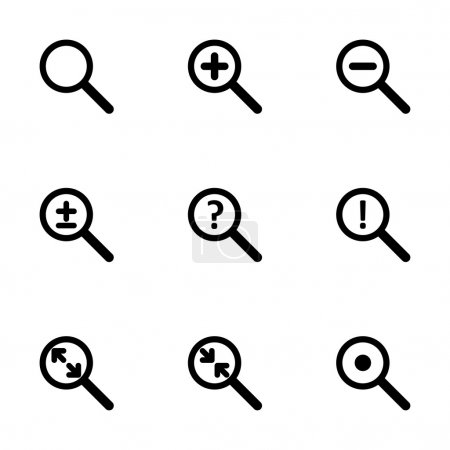 Vector magnifying glass icon set