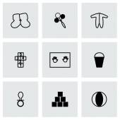 Vector Baby icon set on grey background