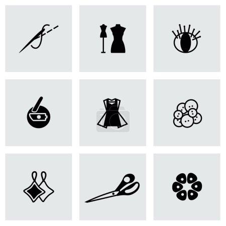 Illustration pour Icône de couture vectorielle sur fond gris - image libre de droit