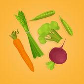 Isolated vegetablase -asparagus peas carrots broccoli radishes  Vector illustration