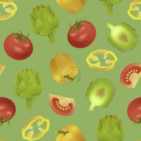 Seamless vector texture with artichokes, tomato and  peppers