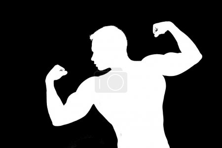 white outline, silhouette muscle man on a black background, two color