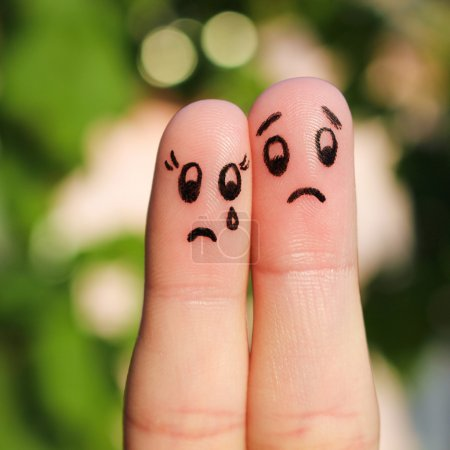 Photo for Finger art of displeased couple. Sad man soothe woman, she's crying. - Royalty Free Image