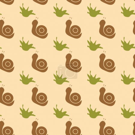 A pattern of snails and herbs.