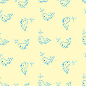 Seamless pattern for the background made of small whale cartoon