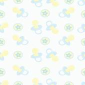 Baby seamless pattern Blue and beige Children's book illustration The image pacifiers and round balls with starsFor printing on fabric and