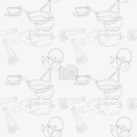 Illustration pour Ustensiles de cuisine contour motif sans couture. Image des ustensiles de cuisine, un contour sombre sur un fond clair. Illustration vectorielle - image libre de droit