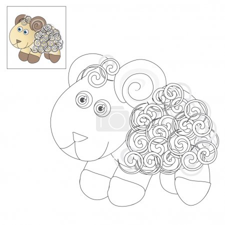 Illustration for Vector illustration. The image of a cute little lamb. Picture for coloring with a color sample. - Royalty Free Image