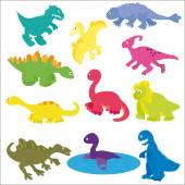 Vector collection of various kinds of cute cartoon dinosaurs