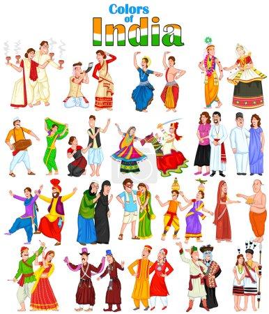 Photo pour Couple heureux de différents états de l'Inde, isolé sur fond blanc - image libre de droit