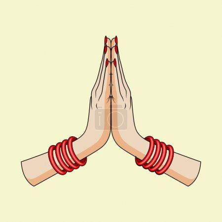 Welcome gesture of hands of Indian woman