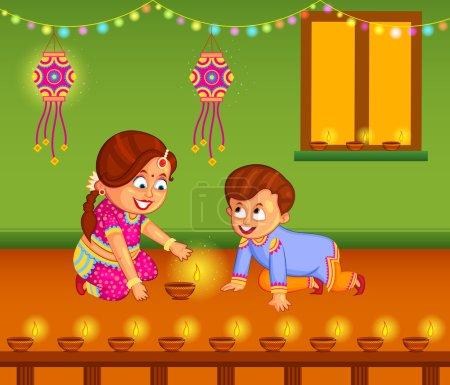 Kids with diya celebrating Diwal