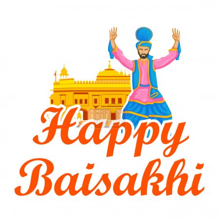 Sikh doing Bhangra, folk dance of Punjab, India for Happy Baisakh