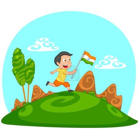 Indian boy hoisting flag of India