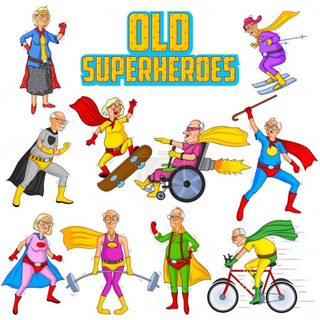 Retro style comics Superhero old man and woman