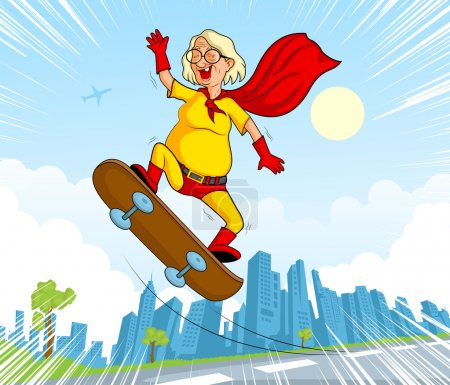 Retro style comics Superhero old woman