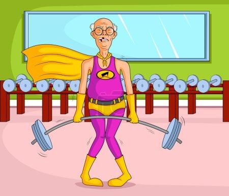 Retro style Superhero old woman
