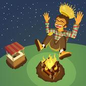 Happy hillbilly jumping high over a bonfire
