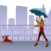 Young modern girl-blonde walks with small dog by bridge She smiles Behind them are beautiful forged tracery grating and silhouette of skyscrapers Weather is cool Girl dressed in short skirt jacket and boots She has dog's lead in one hand and bl