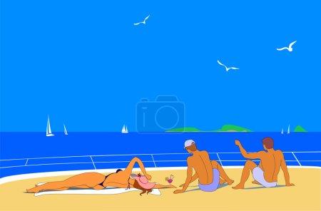 Young people sunbathing on sea