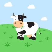 Cow grazing in the field