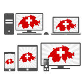 Many device media (tablet pc cellphone laptop smart tv) with the map and flag of Switzerland