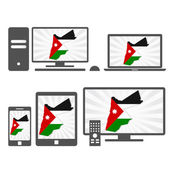 Many device media (tablet pc cellphone laptop smart tv) with the map and flag of Jordan