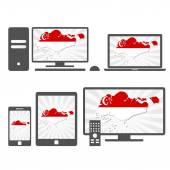 Many device media (tablet pc cellphone laptop smart tv) with the map and flag of Singapore