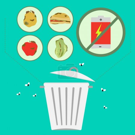 Illustration for Organic waste separation of toxic waste to the environment, such as batteries. - Royalty Free Image