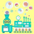 Creative candy factory. Machine producing sweets i...