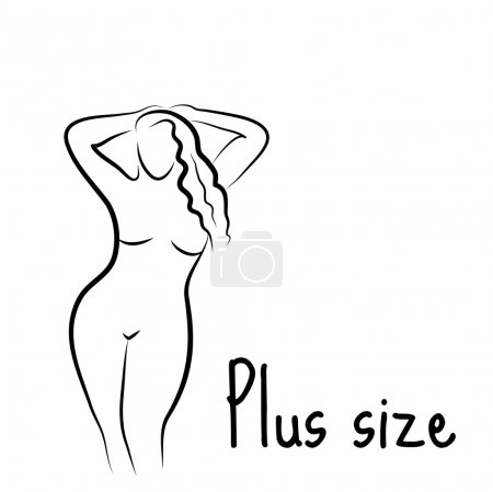 Illustration for Plus size model woman sketch. Hand drawing style. Fashion logo with overweight. Curvy body icon design. Vector illustration - Royalty Free Image