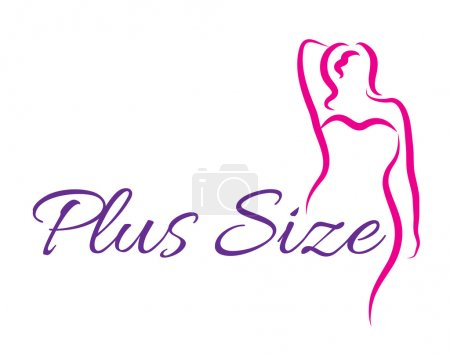 Illustration for Logo plus size woman. Curvy woman symbol, logo. Vector illustration - Royalty Free Image