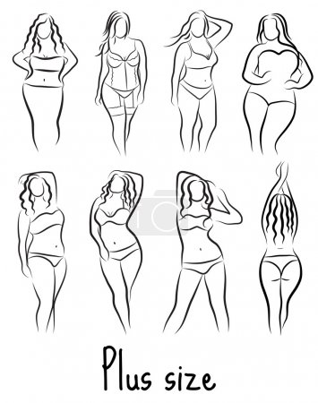 Illustration for Set Girl silhouette sketch plus size model. Curvy woman symbol. Vector illustration - Royalty Free Image