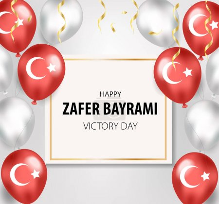 Illustration for 30 august zafer bayrami Victory Day. Translation: August 30 celebration of victory and the National Day in Turkey. Vector. - Royalty Free Image