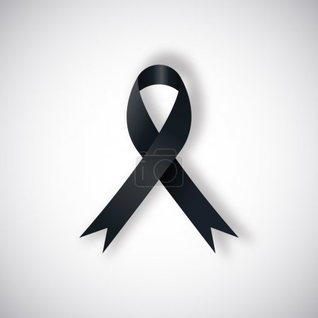 Illustration for Vector Black awareness ribbon on light background. Mourning and melanoma support symbol. - Royalty Free Image