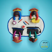 Plasticine modeling Office workers business management meeting and brainstorming on the table in top view Vector illustration