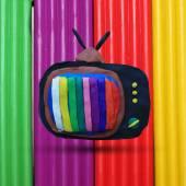 Retro tv set with color lines on the multicolored plasticine background Vector illustration Plasticine modeling