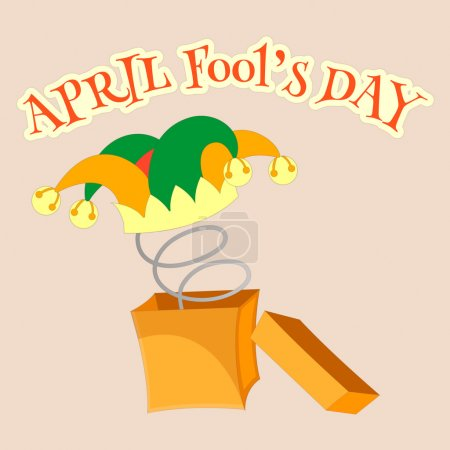 Illustration for April fools day. Fool's cap with bells in a box with a spring - Royalty Free Image