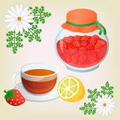 Strawberry jam ChamomileTea with lemon and Chamomile Flowers Get well soon concept