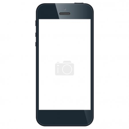 Realistic black mobile phone with blank screen isolated on white background. Vector EPS10